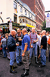 'GAYFEST MANCHESTER, UK', GAY 'SKINHEADS' WHO HAVE ADOPTED THE ANTI-GAY LOOK OF THE 1970'S, STANDING OUTSIDE THE 'REMBRANDT',