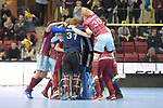 Stuttgart, Germany, February 04: During the KLAFS Final4 final indoor hockey match between Club an der Alster (white) and Uhlenhorster HC (purple) on February 4, 2018 at SCHARRena in Stuttgart, Germany. Final score 5-8 (HT 2-3). (Photo by Dirk Markgraf / www.265-images.com) *** Local caption ***