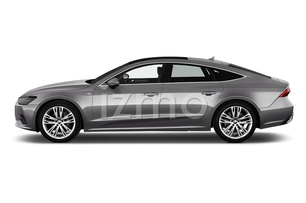 Car driver side profile view of a 2018 Audi A7 Sportback S Line 5 Door Hatchback