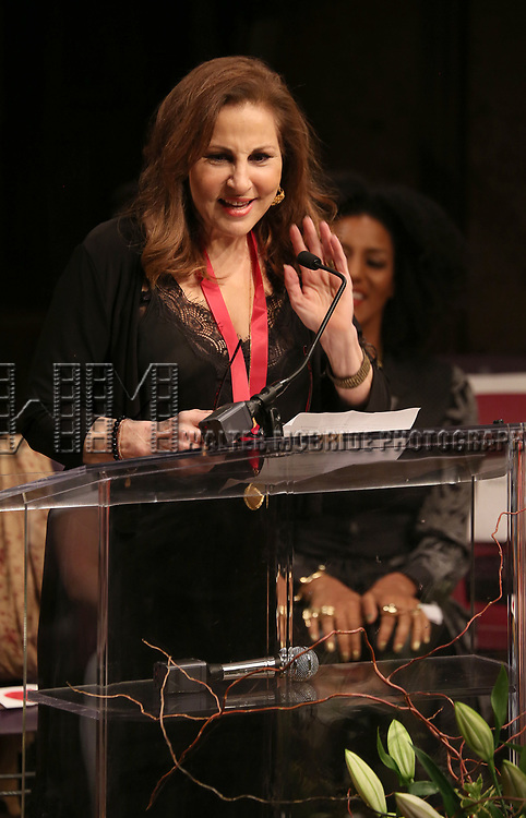 Kathy Najimy on stage at the The Lilly Awards  at Playwrights Horizons on May 22, 2017 in New York City.