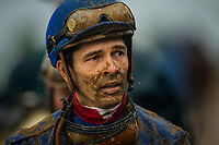 LEXINGTON, KY - OCTOBER 08: Jose Valdivia walks back to the jockey's room after the Dixiana Bourbon Stakes at Keeneland Race Course on October 08, 2017 in Lexington, Kentucky. (Photo by Alex Evers/Eclipse Sportswire/Getty Images)