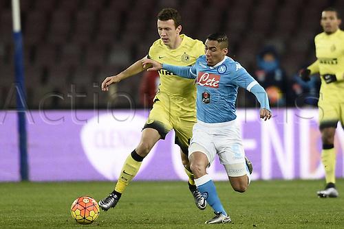 19.01.2016. Naples, Italy. Italian Cup football, Napoli versus Inter Milan.  Ivan Perisic challenges Allan