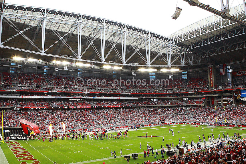 Dec 07, 2008; Glendale, AZ, USA; The Arizona Cardinals are introduced to their fans prior to a game against the St. Louis Rams at University of Phoenix Stadium.  The Cardinals won the game 34-10 to clinch the NFW West Division Championship.  Mandatory Credit: Chris Morrison-US PRESSWIRE