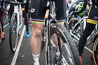 Wout Van Aert (BEL/Crelan-Willems) is 1 of the only riders to ride in shorts with these freezing temperatures<br /> <br /> Elite Men's race start<br /> CX Superprestige Noordzeecross <br /> Middelkerke / Belgium 2017