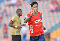 MEDELLÍN - COLOMBIA, 19-08-2018: German Cano jugador del Medellín celebra después de anotar el primer gol de su equipo a Rionegro Aguilas durante el partido entre Deportivo Independiente Medellín y Rionegro Aguilas por la fecha 5 de la Liga Águila II 2018 jugado en el estadio Atanasio Girardot de la ciudad de Medellín. / German Cano player of Medellin celebrates after scoring the first goal of his team to Rionegro Aguilas during match between Deportivo Independiente Medellin and Rionegro Aguilas for the date 5 of the Aguila League II 2018 played at Atanasio Girardot stadium in Medellin city. Photo: VizzorImage / Leon Monsalve / Cont