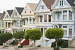 "USA, CA, San Francisco, Alamo Square, ""Painted Ladies"" Victorian Houses"