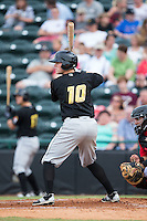 Chase Simpson (10) of the West Virginia Power at bat against the Hickory Crawdads at L.P. Frans Stadium on August 15, 2015 in Hickory, North Carolina.  The Power defeated the Crawdads 9-0.  (Brian Westerholt/Four Seam Images)