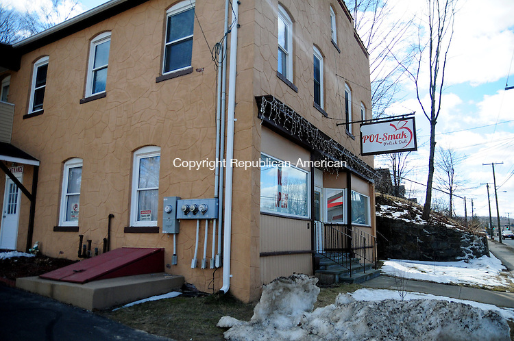 THOMSATON, CT, 26 MAR 13- 032613AJ04- A Polish deli has opened in this building at 111 Main St. in Terryville. The building last was a pawn shop. Alec Johnson/ Republican-American