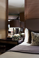In the master bedroom is a made to measure bed from de Relyon with Medusa lamps by Donghia on the side tables.