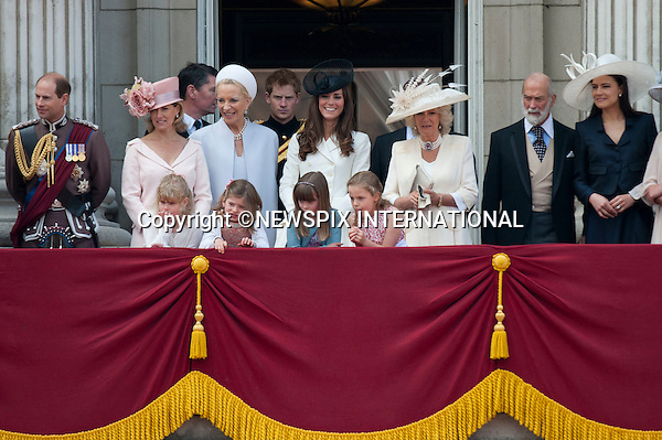 """TROOPING THE COLOUR 2011..Catherine, The Duchess of Cambridge at her first Trooping the Colour.The Duchess of Cambridge shared a carriage with The Duchess of Cornwall, Prince Harry and the Duke of York. Prince William accompanied his Farther Prince Charles on horse back for the first time along with Princess Anne and the Duke of Kent.The Second carriage was occupied by The Count and Countess of Wessex, Lady Louise and Princess Eugenie_Buckingham Palace, London_11/06/2011..Mandatory Photo Credit: ©Dias/Newspix International..**ALL FEES PAYABLE TO: """"NEWSPIX INTERNATIONAL""""**..PHOTO CREDIT MANDATORY!!: NEWSPIX INTERNATIONAL(Failure to credit will incur a surcharge of 100% of reproduction fees)..IMMEDIATE CONFIRMATION OF USAGE REQUIRED:.Newspix International, 31 Chinnery Hill, Bishop's Stortford, ENGLAND CM23 3PS.Tel:+441279 324672  ; Fax: +441279656877.Mobile:  0777568 1153.e-mail: info@newspixinternational.co.uk"""