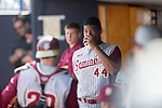 Jameis Winston (Seminoles),<br /> FEBRUARY 25, 2014 - MLB :<br /> Jameis Winston of the Florida State University Seminoles takes a drink in the dugout during a spring training baseball game between the Florida State University Seminoles and the New York Yankees at George M. Steinbrenner Field in Tampa, Florida, United States. (Photo by Thomas Anderson/AFLO) (JAPANESE NEWSPAPER OUT)