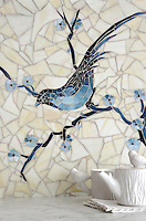Chinoiserie, a handmade mosaic shown in Marcasite, Pewter and Mica jewel glass with Quartz Sea Glass&trade;, is part of the Delft Collection by Sara Baldwin for New Ravenna.<br />