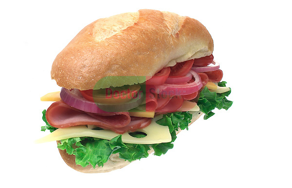 large submarine sandwich, hoagie, grinder, with cold cuts, lettuce, tomatoes, cheese on shadowless white background