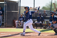 San Diego Padres second baseman Luis Almanzar (14) follows through on his swing during an Instructional League game against the Milwaukee Brewers on September 27, 2017 at Peoria Sports Complex in Peoria, Arizona. (Zachary Lucy/Four Seam Images)