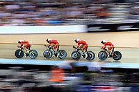 CAMBRIDGE, NEW ZEALAND - JANUARY 18: China compete in the Men's Team Pursuit during the 2018 UCI Track World Cup on January 18, 2019 in Cambridge, New Zealand.