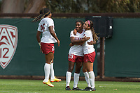 Stanford, CA - September 30, 2018: Stanford defeats the USC Trojans 1-0 in overtime in a Women's soccer game at Laird Q. Cagan Stadium.