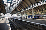 Platform and train tracks Paragon railway station, Hull, Yorkshire, England