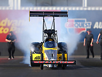 Feb 1, 2018; Chandler, AZ, USA; NHRA top fuel driver Richie Crampton during Nitro Spring Training pre season testing at Wild Horse Pass Motorsports Park. Mandatory Credit: Mark J. Rebilas-USA TODAY Sports