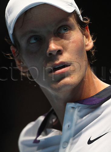 24.11.2010 Barclays ATP World Tour Finals from the O2 in London, day four. Thomas Berdych in action against Andy Roddick