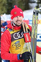 31st December 2019; Dobbiaco, Toblach, South Tyrol, Italy;  FIS Tour de Ski - Cross Country Ski World Cup 2019  in Dobbiaco, Toblach, on December 31, 2019; Mens individual 15km winner Sergey Ustiugov of Russia celebrates on the podium