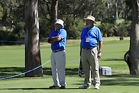 The marshals on the 2nd tee during Round 1 of the ISPS HANDA Perth International at the Lake Karrinyup Country Club on Thursday 23rd October 2014.<br /> Picture:  Thos Caffrey / www.golffile.ie