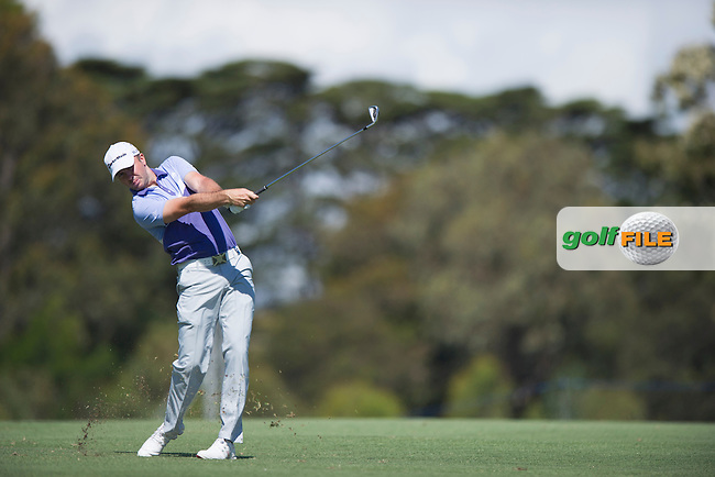 Stuart Manley from Wales nails his approach into the 16th at Royal Melbourne during the third round of the World Cup (Photo: Anthony Powter)