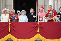 Camilla Duchess of Cornwall, Prince Charles, Queen, Prince Phillip, Catherine Duchess of Cambridge, Princess Charlotte, Prince George, Prince William<br /> on the balcony of Buckingham Palace during Trooping the Colour on The Mall, London. <br /> <br /> <br /> &copy;Ash Knotek  D3283  17/06/2017