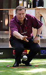 """May 21, 2016, Tokyo, Japan - French restaurant Pachon owner chef Andre Pachon, who is last year's petanque champion in Japan, throws an iron ball for the promotion of petanque, French ball game in Tokyo on Saturday, May 21, 2016 as a  part of """"Aperitif 365"""" event. Thousands of visitors are expecting to enjoy aperitifs and hors d'oeuvres at the three-day event for the promotion of French foods and drinks.  (Photo by Yoshio Tsunoda/AFLO) LWX -ytd"""