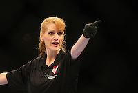 Oct. 29, 2011; Las Vegas, NV, USA; UFC referee Kim Winslow during a light heavyweight bout during UFC 137 at the Mandalay Bay event center. Mandatory Credit: Mark J. Rebilas-