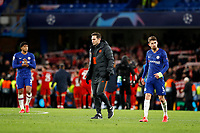 25th February 2020; Stamford Bridge, London, England; UEFA Champions League Football, Chelsea versus Bayern Munich; A very disappointed Chelsea Manager Frank Lampard looking down on the pitch after full time with Jorginho of Chelsea