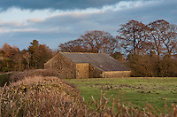 Stone barn in winter evening sunshine, Chipping, Lancashire.