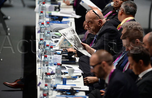 26.02.2016. Zurich, Switzerland.  Delegates wait while FIFA-officials counting the ballots for the president's elections second set of votes, during the Extraordinary FIFA Congress 2016 held at the Hallenstadion in Zurich, Switzerland during the Extraordinary FIFA Congress 2016 held at the Hallenstadion in Zurich, Switzerland, 26 February 2016. The Extraordinary FIFA Congress is being held in order to vote on the proposals for amendments to the FIFA Statutes and choose the new FIFA President.