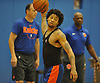 Trey Burke of the New York Knicks practices at Madison Square Garden Training Center in Greenburgh, NY on Friday, Sept. 28, 2018.