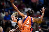 Washington, DC - July 30, 2019: Washington Mystics forward Elena Delle Donne (11) drives to the basket against Phoenix Mercury guard Yvonne Turner (6) during game between the Phoenix Mercury and the Washington Mystics at the Entertainment & Sports Arena in Washington, DC. The Mystics defeated the Mercury 99-93. (Photo by Phil Peters/Media Images International)
