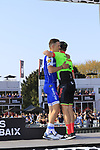 Zdenek Stybar (CZE) Quick-Step Floors finishes in 2nd place with Sebastian Langeveld (NED) Cannondale-Drapac in 3rd place at the end of the 115th edition of the Paris-Roubaix 2017 race running 257km from Compiegne to Roubaix, France. 9th April 2017.<br /> Picture: Eoin Clarke | Cyclefile<br /> <br /> <br /> All photos usage must carry mandatory copyright credit (&copy; Cyclefile | Eoin Clarke)