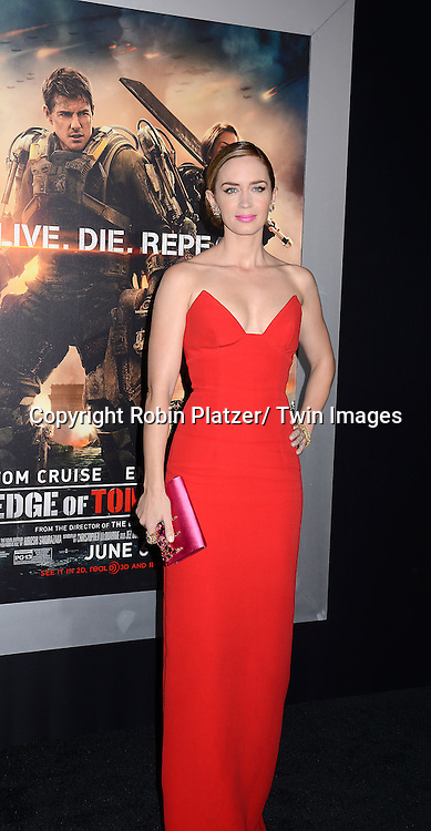 "Emily Blunt attends the ""Edge of Tomorrow"" New York Fan Premiere on May 28, 2014 at the AMC Lincoln Square Theatre in New York City."