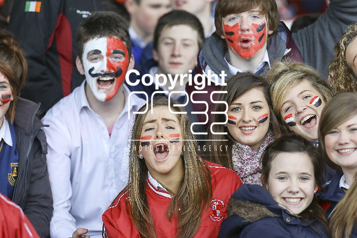 XXXJob 15/01/2014 Sport Doon Supporters watching the Charleville V Doon  Harty Cup quarter final played in the Gaelic Grounds Limerick Picture Credit Brian Gavin Press 22