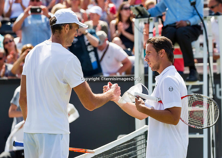 Den Bosch, Netherlands, 09 June, 2016, Tennis, Ricoh Open, Igor Sijsling (NED) (R) congratulates Ivo Karlovic (CRO) with his win<br /> Photo: Henk Koster/tennisimages.com