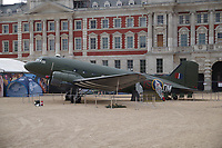 KG374  Douglas Dakota IV<br /> RAF100 Aircraft Tour: aircraft of the UK RAF / Royal Air Force on display on Horse Guards Parade in front of the Admiralty House, London, England on July 06, 2018.<br /> Actually KP208 in markings of Flt Lt Lord VC&rsquo;s KG374 <br /> Aircraft represented was hit by flak on a supply drop in Arnhem. Lord ordered crew to bale out but continued mission until aircraft crashed on 19 September 1944. <br /> CAP/SDL<br /> &copy;Stephen Loftus/Capital Pictures