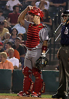 August 21, 2003:  Catcher Jesse Levis of the Scranton Wilkes-Barre Red Barons, Class-AAA affiliate of the Philadelphia Phillies, during a International League game at Frontier Field in Rochester, NY.  Photo by:  Mike Janes/Four Seam Images