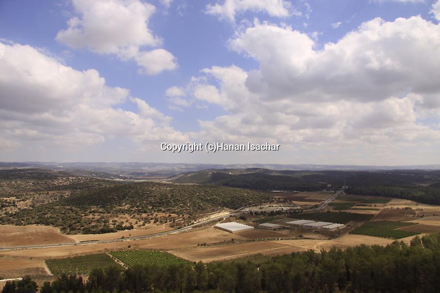 Israel, Shephelah, a view of Haela valley and Road 38 from Tel Azekah