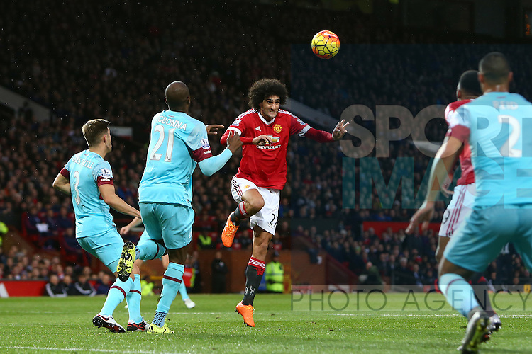 Marouane Fellaini of Manchester United heads a ball in the box - Manchester United vs West Ham United - Barclay's Premier League - Old Trafford - Manchester - 05/12/2015 Pic Philip Oldham/SportImage