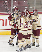Andie Anastos (BC - 23), Kate Leary (BC - 28), Lexi Bender (BC - 21), Emily Pfalzer (BC - 14), Melissa Bizzari (BC - 4) - The Boston College Eagles defeated the visiting University of Maine Black Bears 5 to 1 on Sunday, October 6, 2013, in their Hockey East season opener at Kelley Rink in Conte Forum in Chestnut Hill, Massachusetts.