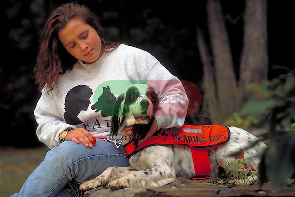 hearing impaired woman with hearing dog