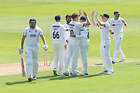Ben Coad of Yorkshire celebrates with his team mates after taking the wicket of Nick Browne during Essex CCC vs Yorkshire CCC, Specsavers County Championship Division 1 Cricket at The Cloudfm County Ground on 4th May 2018