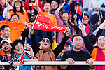 Chinese soccer fans wave banners and flags to show supports for their team during the AFC Asian Cup UAE 2019 Group C match between China (CHN) and Kyrgyz Republic (KGZ) at Khalifa Bin Zayed Stadium on 07 January 2019 in Al Ain, United Arab Emirates. Photo by Marcio Rodrigo Machado / Power Sport Images