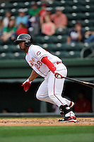 Designated hitter Carlos Mesa (28) of the Greenville Drive bats in a game against the Asheville Tourists on Friday, April 24, 2015, at Fluor Field at the West End in Greenville, South Carolina. Greenville won, 5-2. (Tom Priddy/Four Seam Images)