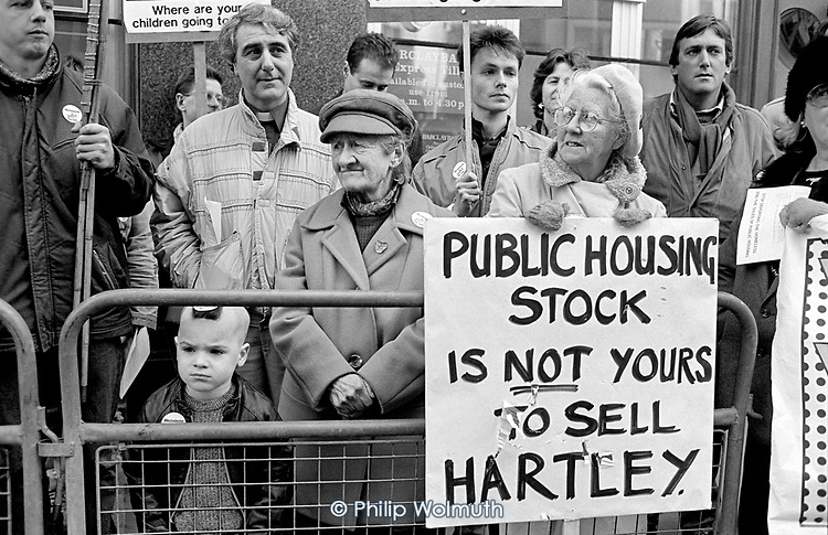 Residents protest at the opening of Westminster City Council's Home Ownership Centre, set up as part of the illegal 'Designated Sales' policy by council leader Dame Shirley Porter and Housing Chair Councillor Peter Hartley.