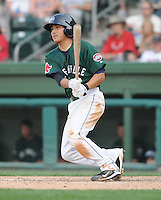 Infielder James Kang (3) of the Greenville Drive, Class A affiliate of the Boston Red Sox, in a game against the Augusta GreenJackets on April 10, 2011, at Fluor Field at the West End in Greenville, South Carolina. (Tom Priddy / Four Seam Images)