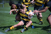 Action from the Farah Palmer Cup women's rugby match between Wellington pride and Taranaki at Jerry Collins Stadium in Porirua, Wellington, New Zealand on Saturday, 6 October 2018. Photo: Dave Lintott / lintottphoto.co.nz